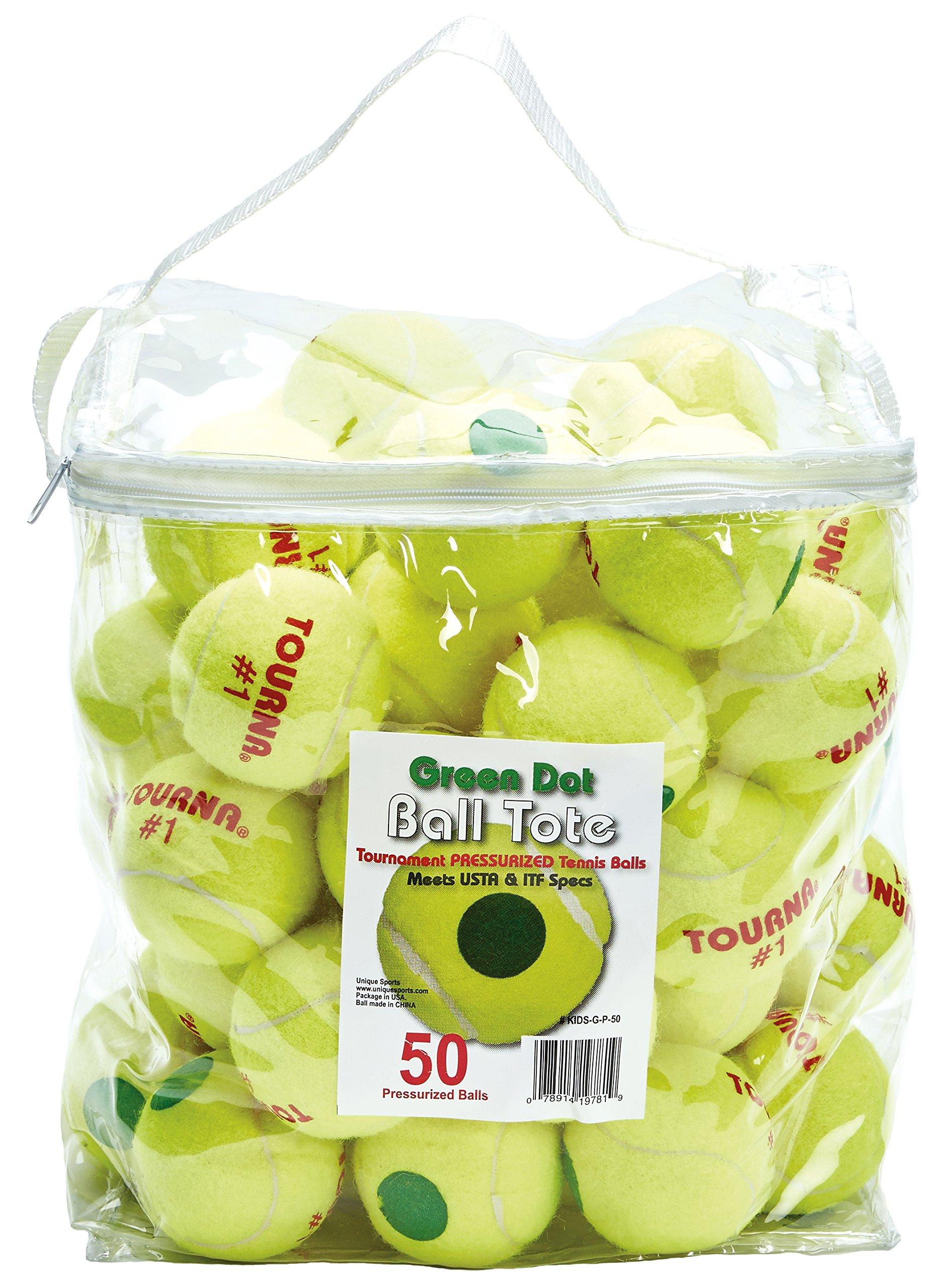 TOURNA Pressurized Green Dot Tennis Balls 50 Ball Tote Bag Green Dot Tennis Balls Pressurized