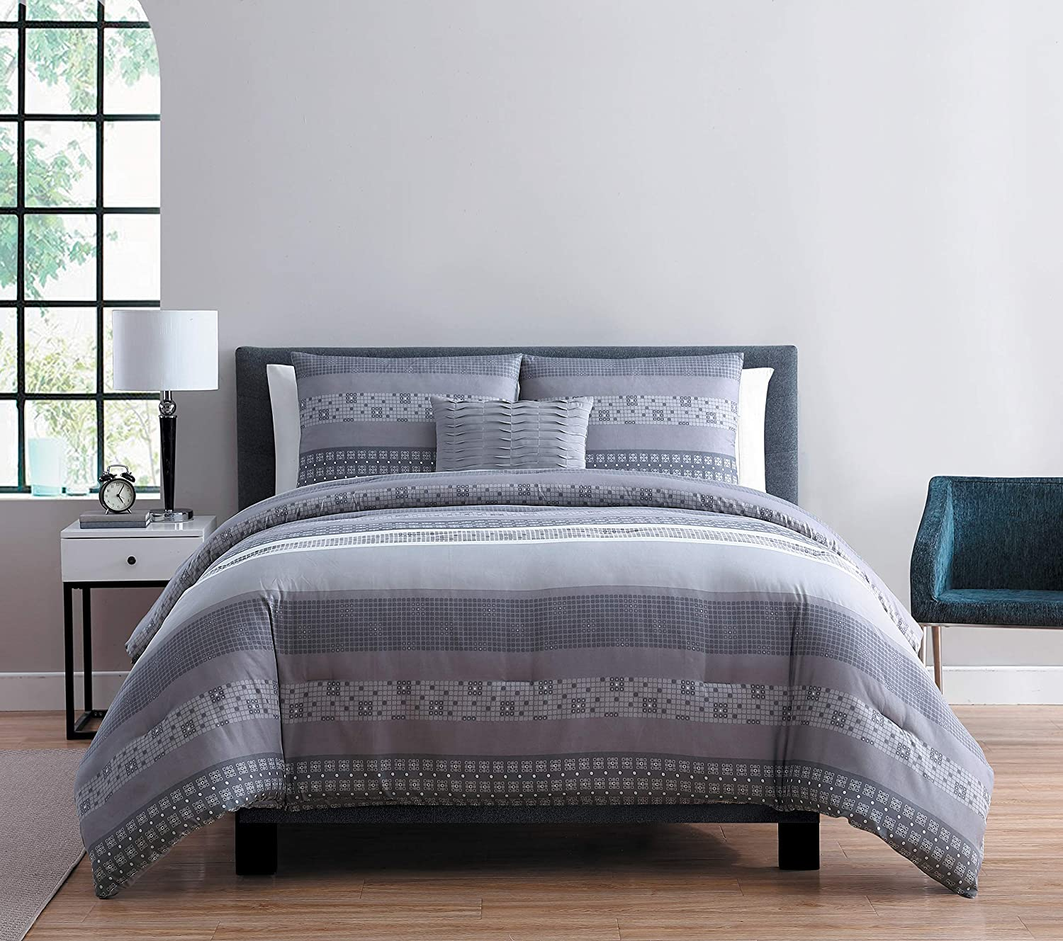 cfb3b6875a0c Amazon.com  VCNY Home Casper Striped 3 Piece Bedding Comforter Set Twin XL  Grey  Home   Kitchen