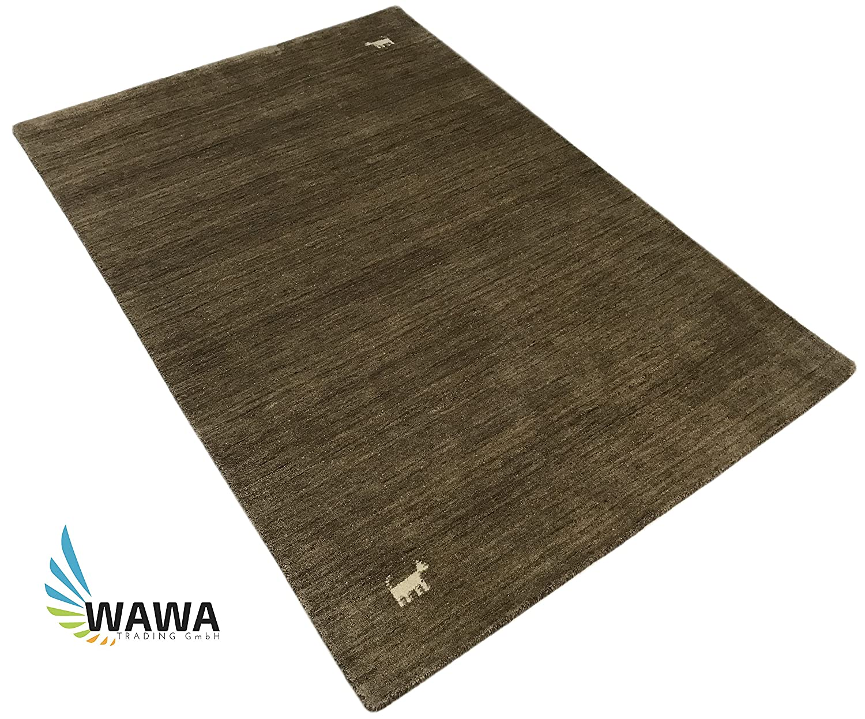 WAWA TEPPICHE Handgewebter Gabbeh Teppich in 5 Farben 4 Größen 100% Schurwolle Handloom (BRAUN, 120 x 180 cm)
