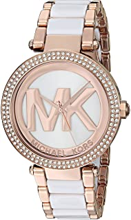 Michael Kors Parker Rose Goldtone And White Acetate Three Hand Watch
