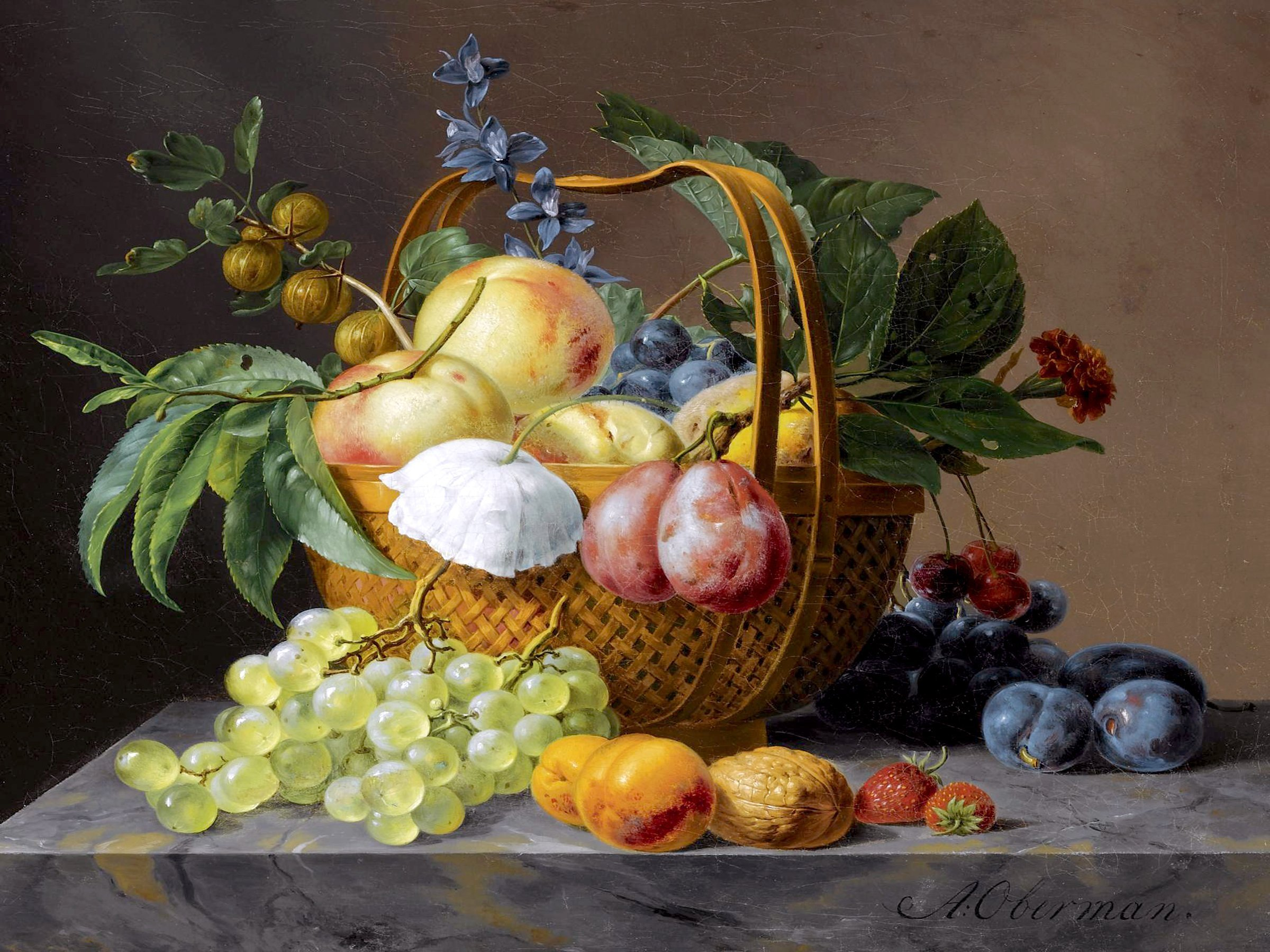 STILL LIFE WITH FRUIT AND FLOWERS IN A BASKET by Anthony Oberman plum gooseberry Accent Tile Mural Kitchen Bathroom Wall Backsplash Behind Stove Range Sink Splashback One Tile 8''x6'' Ceramic, Glossy by FlekmanArt