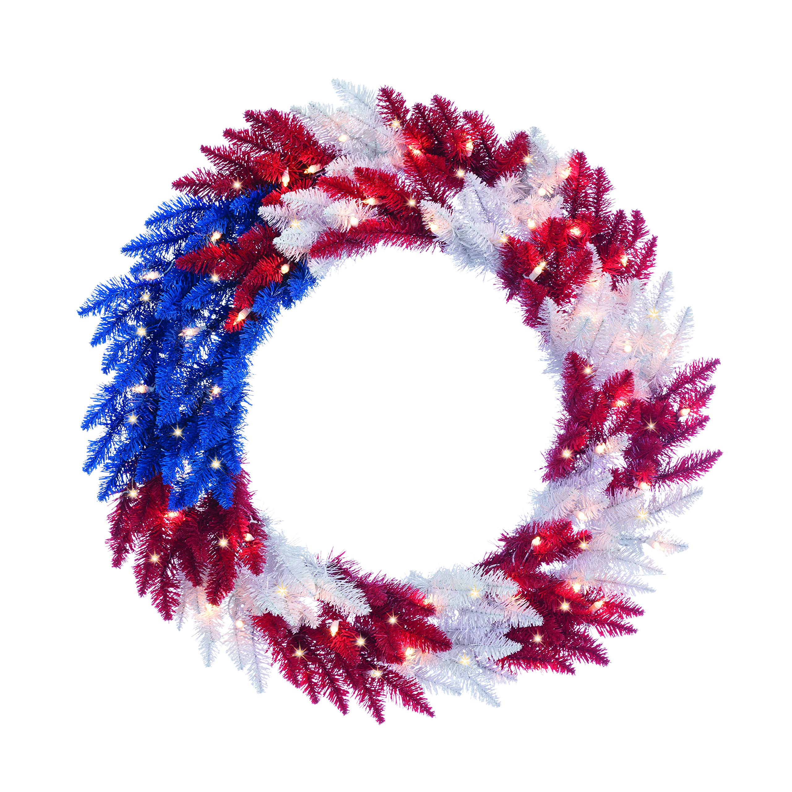 Sterling 36'' Patriotic American Wreath 50 White Lights Christmas USA Red White Blue