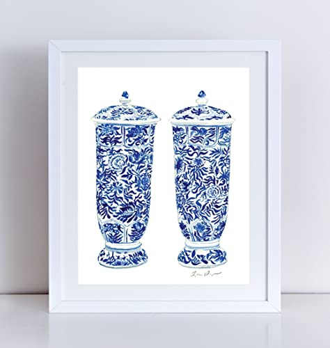 amazon com blue and white china art ginger jar vases pair ginger
