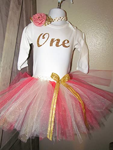 b8ec4a6084 Amazon.com  GORGEOUS First Birthday Girls 18 month Gold Pink Coral Ivory Birthday  outfit Vintage look one piece tutu headband  Handmade