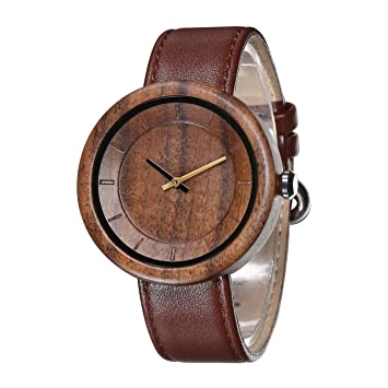 IWOODEN Wood Watch For Mens Vintage Analog Quartz Brown Leather Band Wooden Gifts Men
