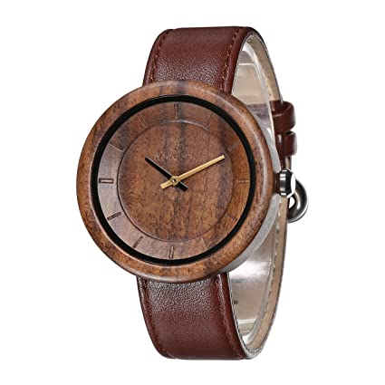 IWOODEN Wood Watch For Men Mens Vintage Analog Quartz Brown Leather Band Wooden Gifts