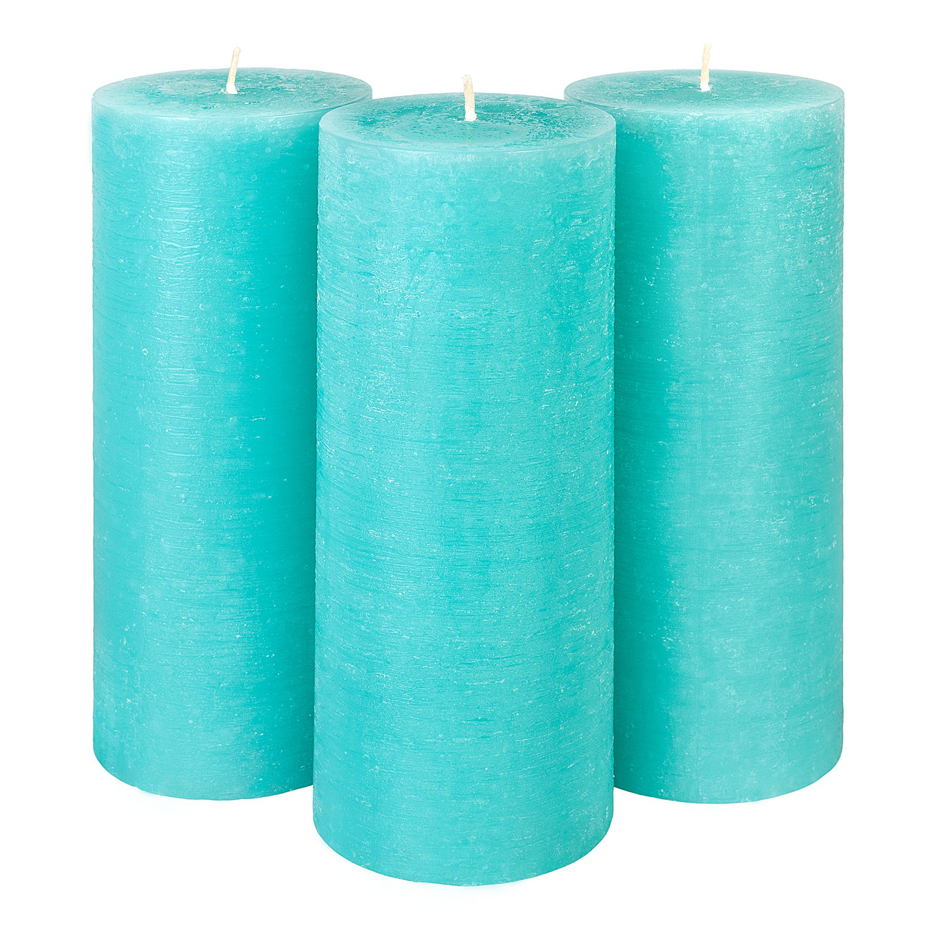 Candle Atelier Tiffany 3'' x 7.5'' Handmade Pillar Candles, Fragrance-free, Set of 3