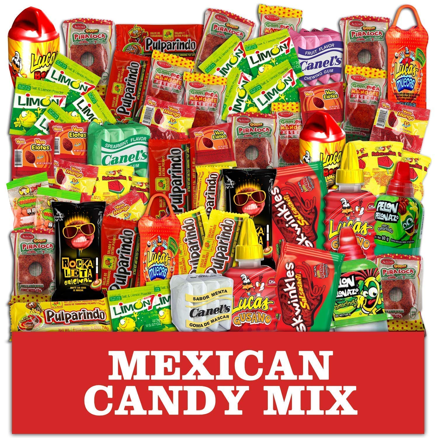 Mexican Candy Assortment Snacks (64 Count), Variety Of Spicy, Sweet, Sour Bulk Candies Dulces Mexicanos, Includes Lucas Candy, Pelon, Vero Lollipop, Pulparindo Makes A Great Gift By MTC. by MTC