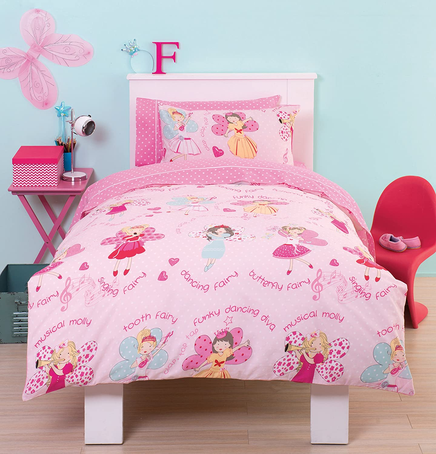 butterfly girls girl dots dp piece com amazon bedding bed home kitchen set toddler pink