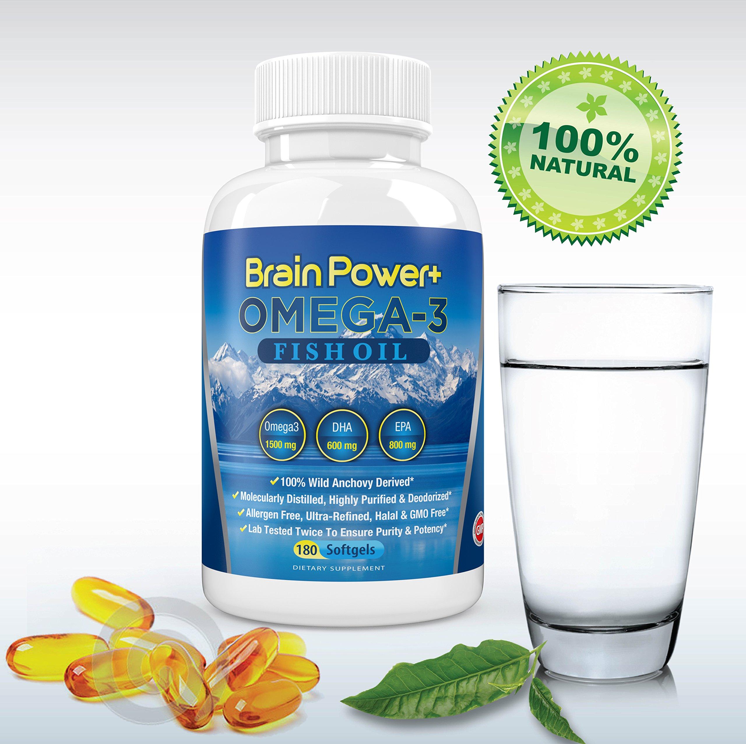 Omega 3 Fish Oil Burpless | 1500 mg Omega-3, 800 mg EPA, 600 mg DHA - Triple Strength Pharmaceutical Grade Liquid Softgel Capsules - 180 Count - Full 90 Day Supply