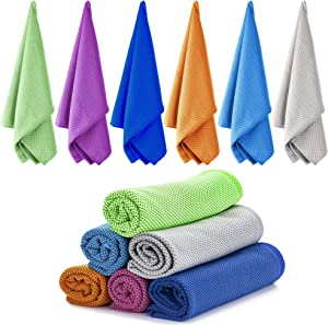 Ailawuu Cooling Towels,Cool Towel 6 Pack Chilly Towel for Sports,Yoga,Neck,Golf,Workout,Gym,Fitness,Travel,Camping& More