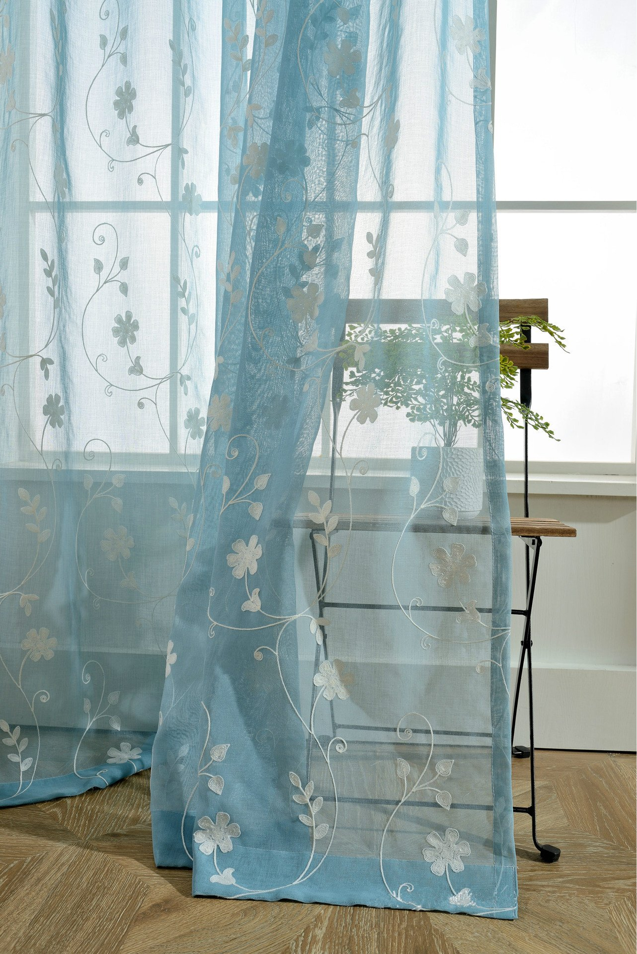 AliFish Home Decor Sheer Curtains Elegance Voile Curtain Delicate Sheer Curtain Floral Leaves Embroidered Curtains Faux Linen Curtains Rod Pocket Curtains for Girls Room W39 x L84 inch