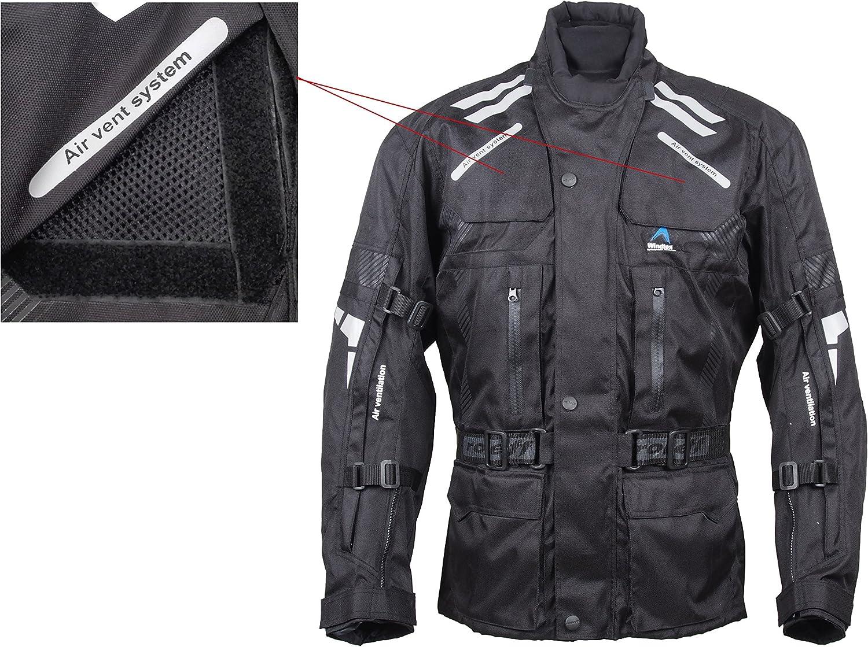 Gr/ö/ße S ROLEFF RACEWEAR RO 774 lange Textil Motorradjacke gut bel/üftete Tourenjacke schwarz
