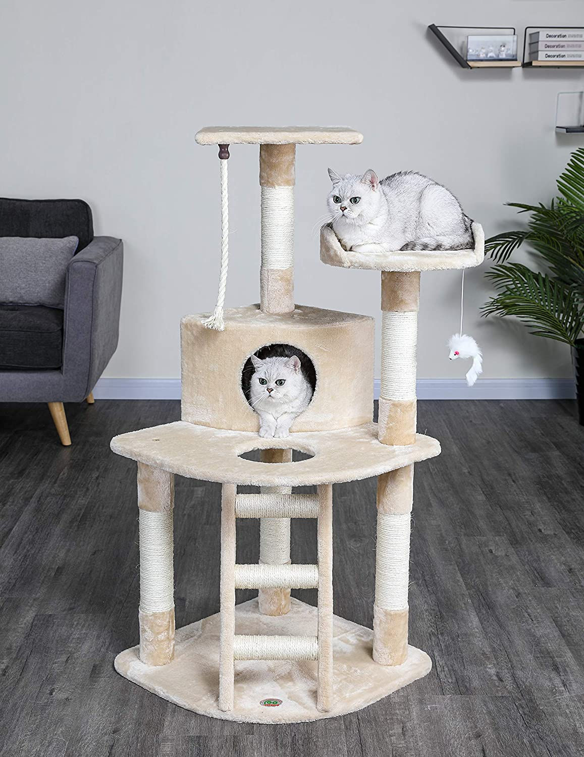 Go Pet Club Cat Tree, 47.5-inch, Brown : Cat Tower : Pet Supplies