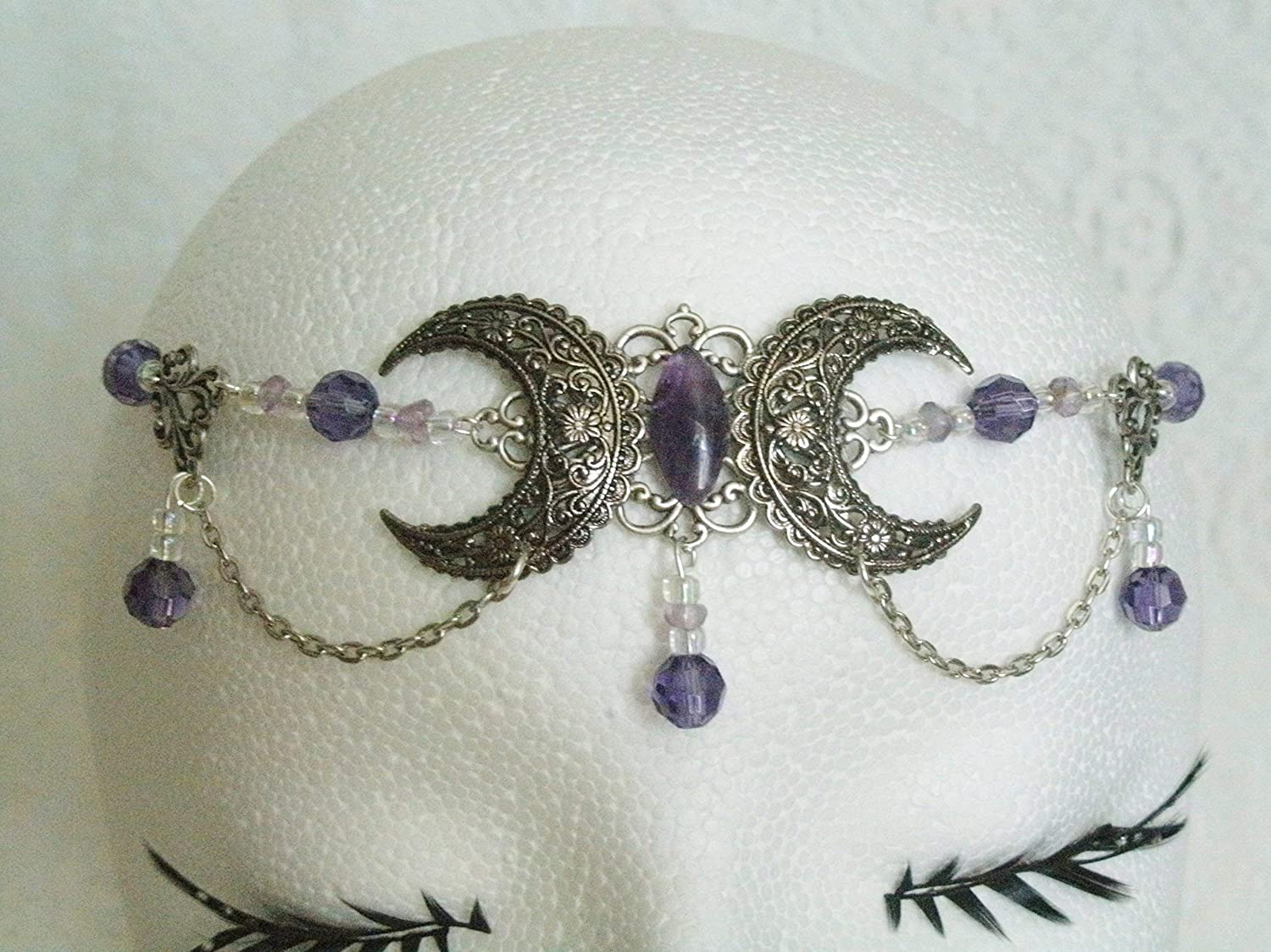 Amethyst Triple Moon Circlet handmade jewelry wiccan pagan wicca witch witchcraft goddess metaphysical headpiece
