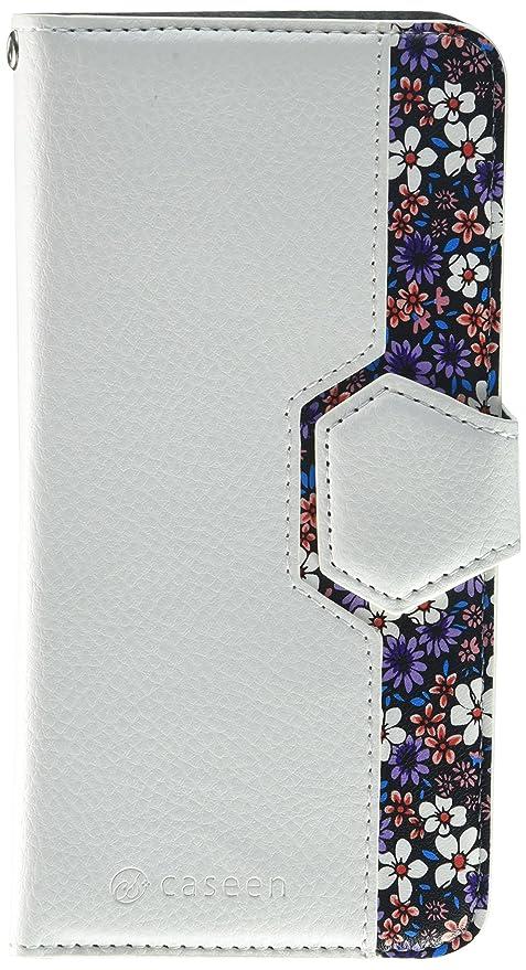 30c8f9d3ac4 caseen Detachable iPhone 6 Plus / 6S Plus Wallet Case (White/Purple Floral)