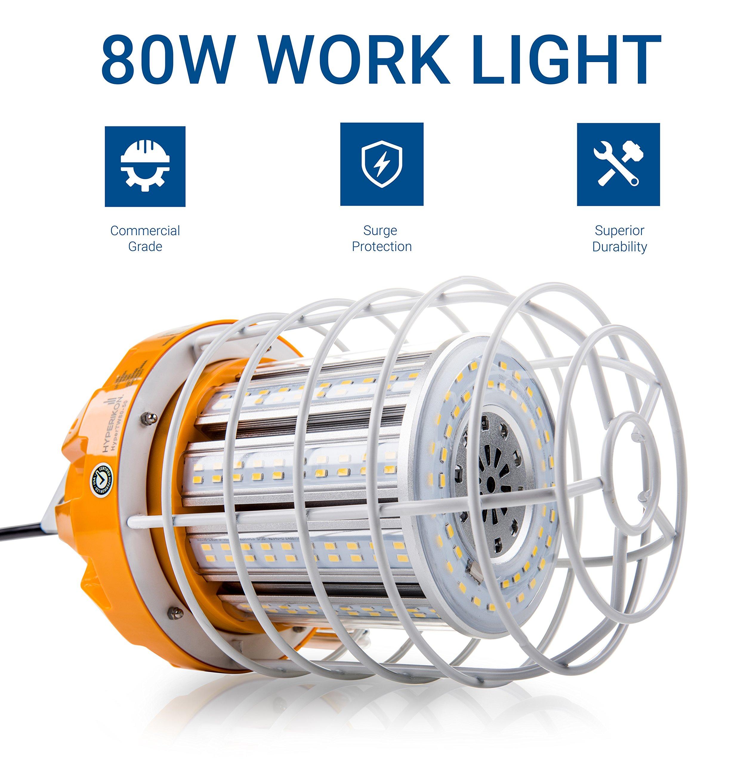 Hyperikon 80W LED Temporary Work Light Fixture, 9600 Lumens, Orange Construction Drop Light, LED High Bay Lighting, UL IP65 Waterproof, 5000K by Hyperikon (Image #2)