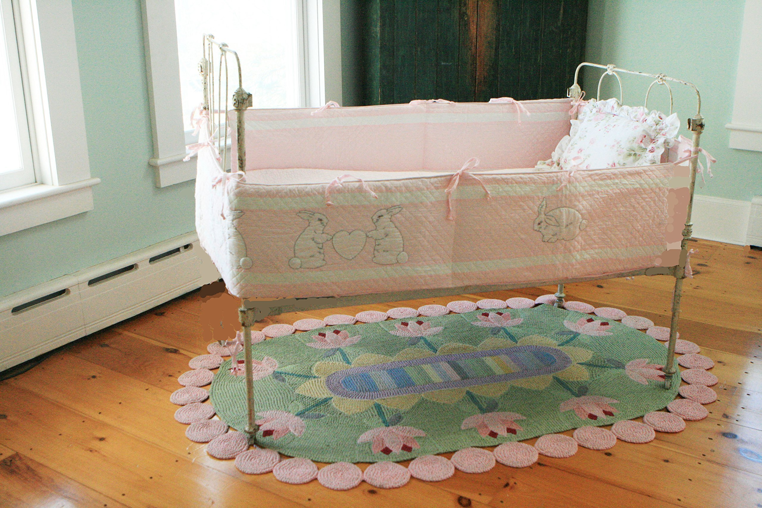 Designed by Judi Boisson. ''Bunny-Baby'' Bumper Pink Cotton Handmade -Appliqued and Embroidered Reversible Cotton.