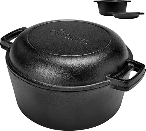 Pre-Seasoned Cast Iron Skillet and Double Dutch Oven Set 2 In 1 Cooker 5 Quart Deep Pan, 10-Inch Frying Pan Converts to Lid for Dutch Oven Grill, Stove Top and Induction Safe