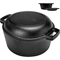Pre-Seasoned Cast Iron Skillet and Double Dutch Oven Set – 2 In 1 Cooker: 5 Quart Deep Pan, 10-Inch Frying Pan Converts…