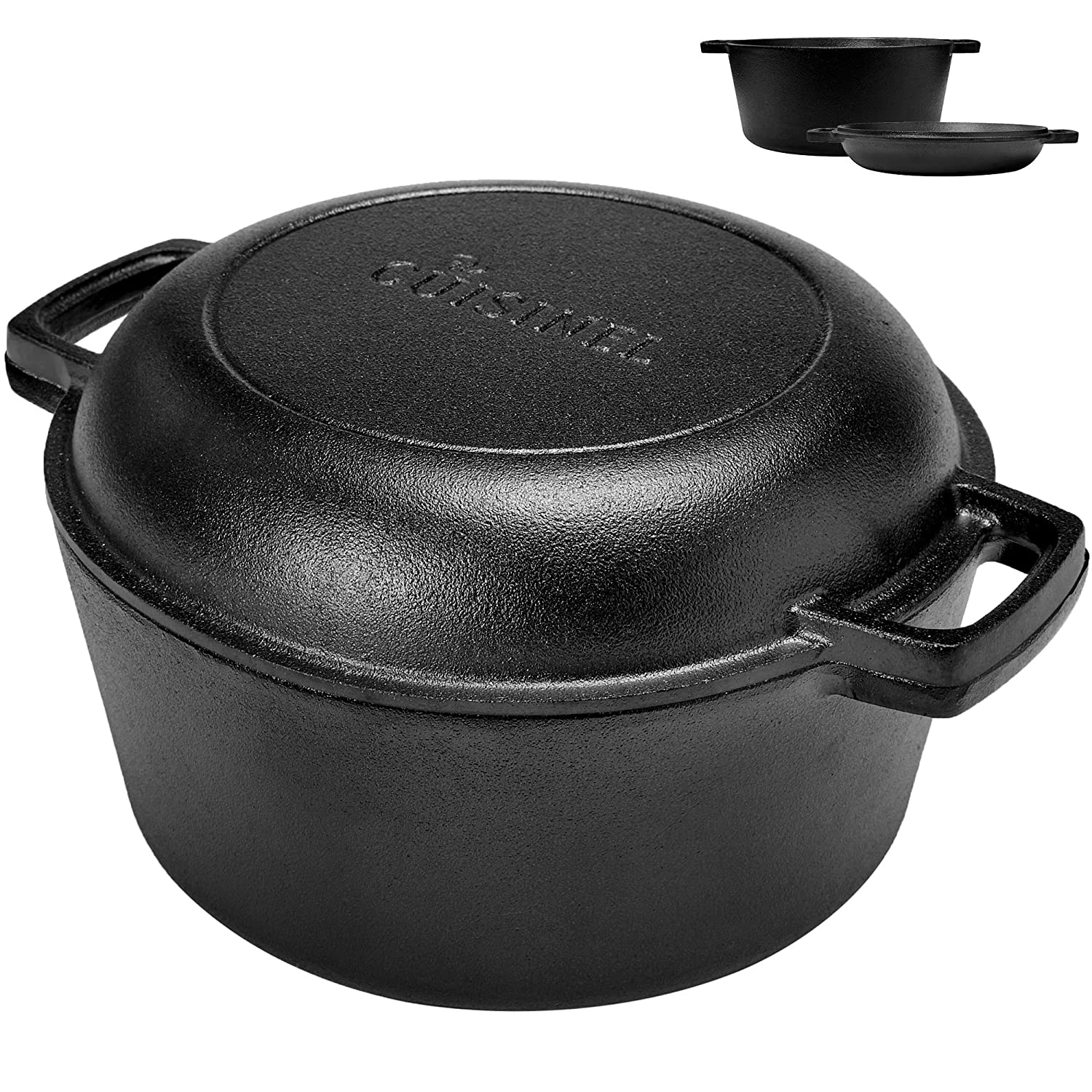 "Cuisinel Pre Seasoned Cast Iron Skillet and Double Dutch Oven Set – 2 in 1 Cooker: 5 Quart Deep Pan, 10"" Frying Pan Converts to Lid for Dutch Oven – Grill, Stove Top and Induction Safe"