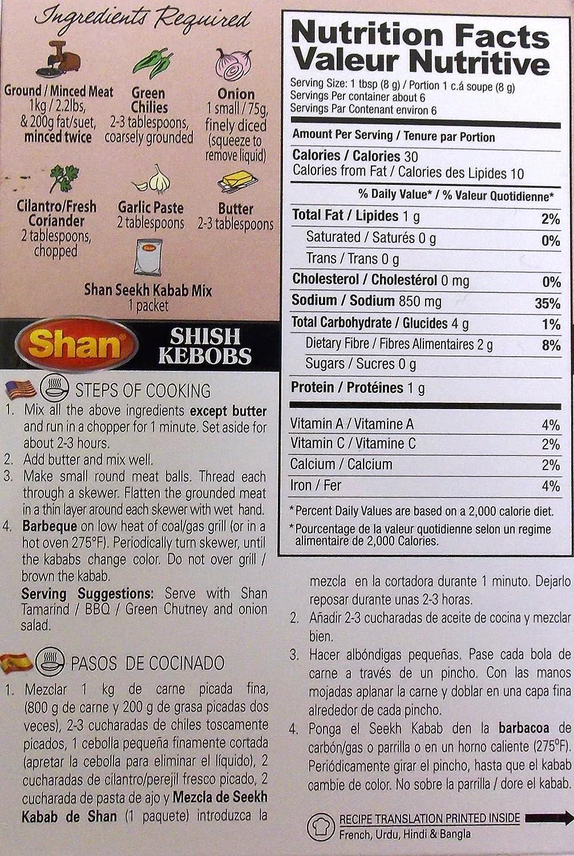 Amazon.com : Shan Seekh Kabab Exclusive BBQ Blend - 6 Pack (1.76 Oz. Ea.) : Indian Food : Grocery & Gourmet Food