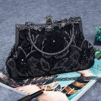 Bagood Womens Vintage Style Roses Beaded Silk And Sequined Evening Bag Wedding Party Handbag Clutch Purse Black: Amazon.co.uk: Clothing