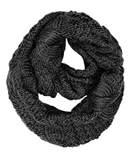 Peach Couture Cable Knit Chuny Winter Warm Infinity Loop Scarves Black 87