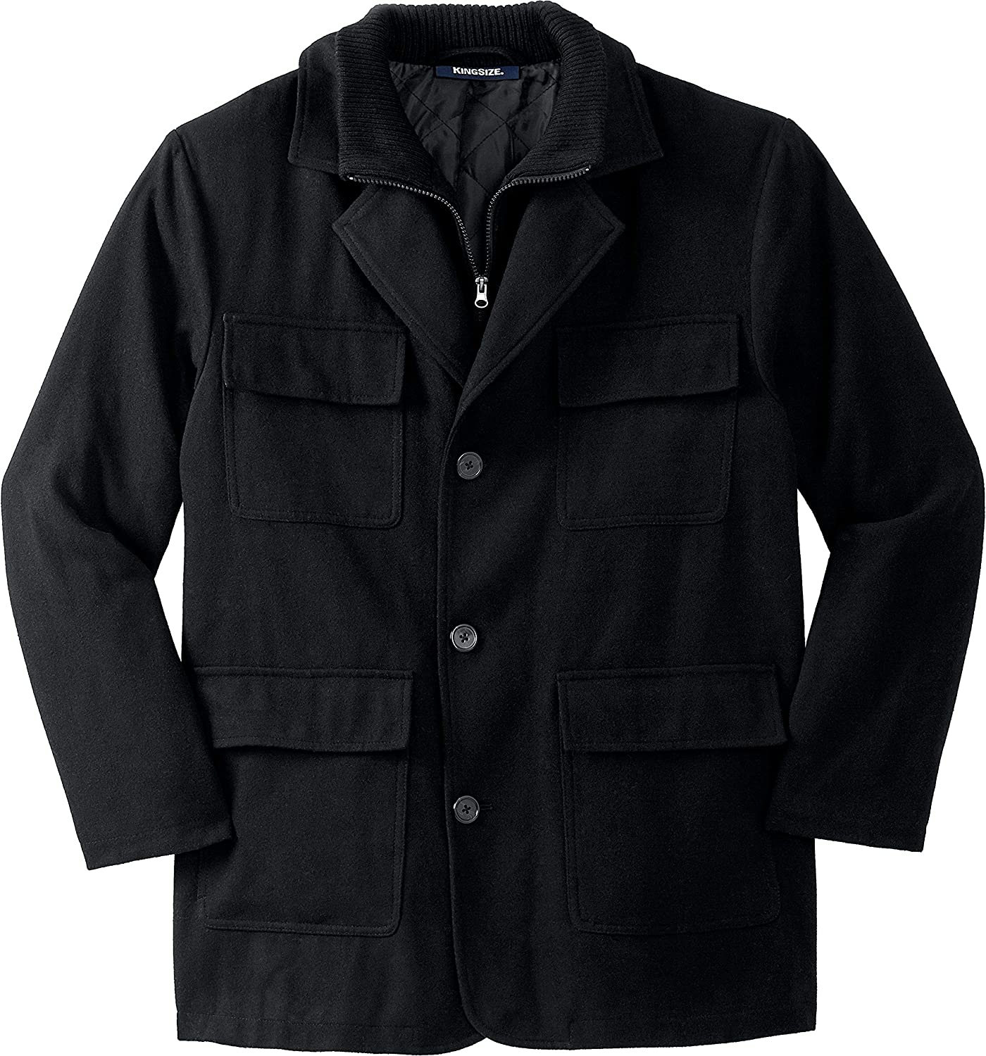 KingSize Men's Big & Tall Multi Pocket Inset Jacket Coat
