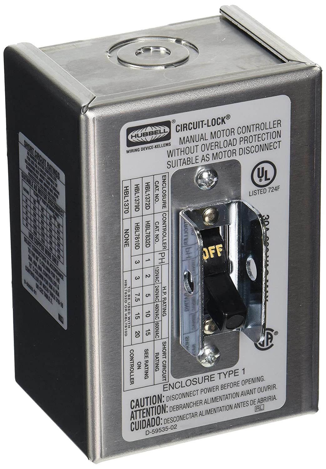 New HUBBELL WIRING DEVICE-KELLEMS HBL1372D Manual Motor Switch,30A,600VAC,2P