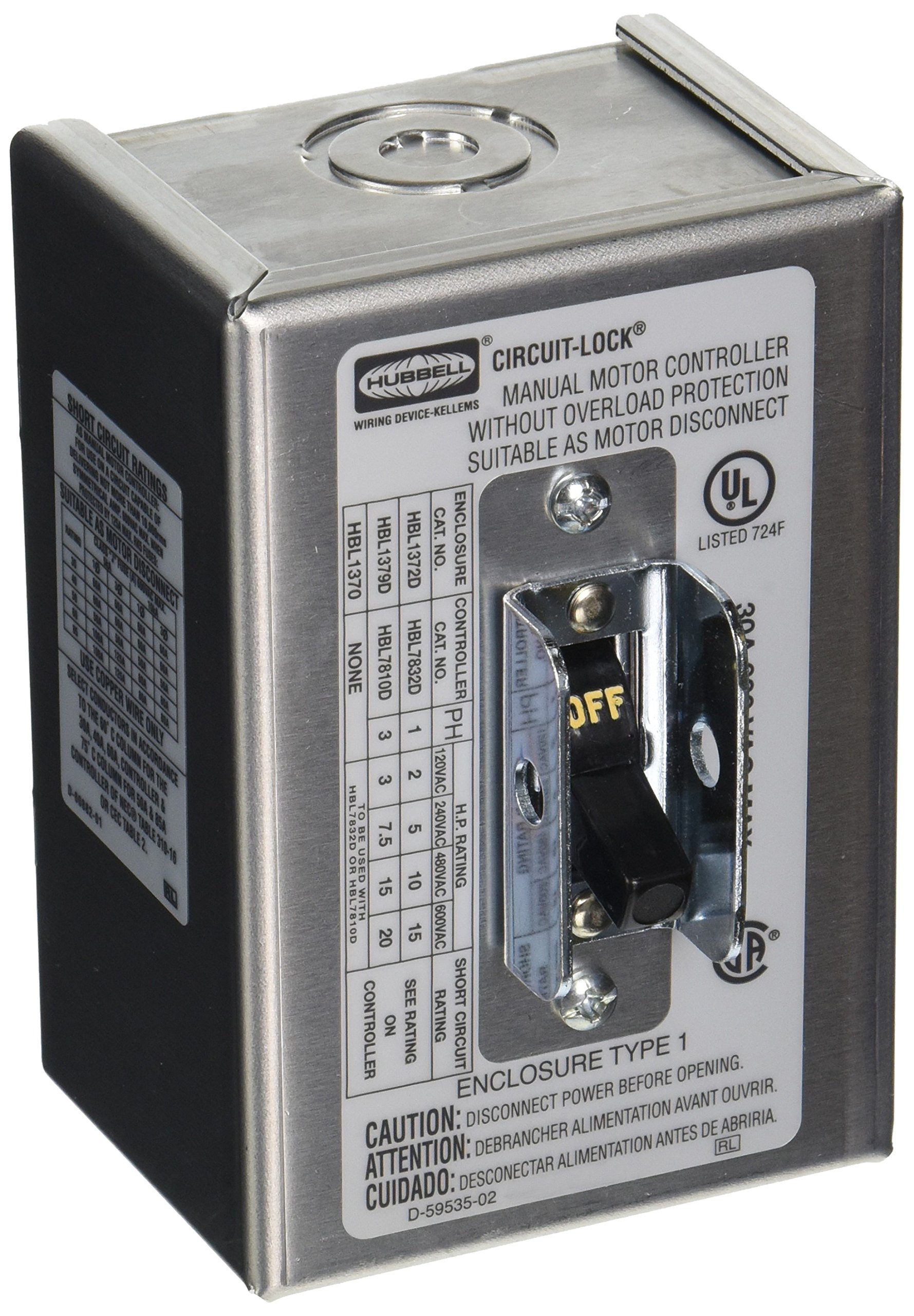 Hubbell HBL1372D2 Pole Disconnect Switch with NEMA 1 Enclosure, 30 amp, 600V