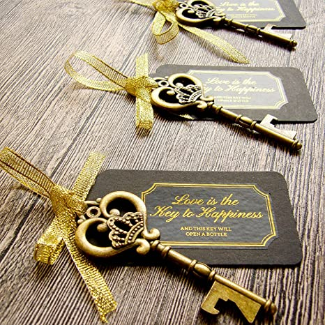 85a008bcdacd 52 Heavy-Duty Metal Large Skeleton Key Bottle Opener Wedding Favor with Tag  (Chalkboard Look-alike), FREE Gold Ribbon and Stickers, Vintage Bridal ...