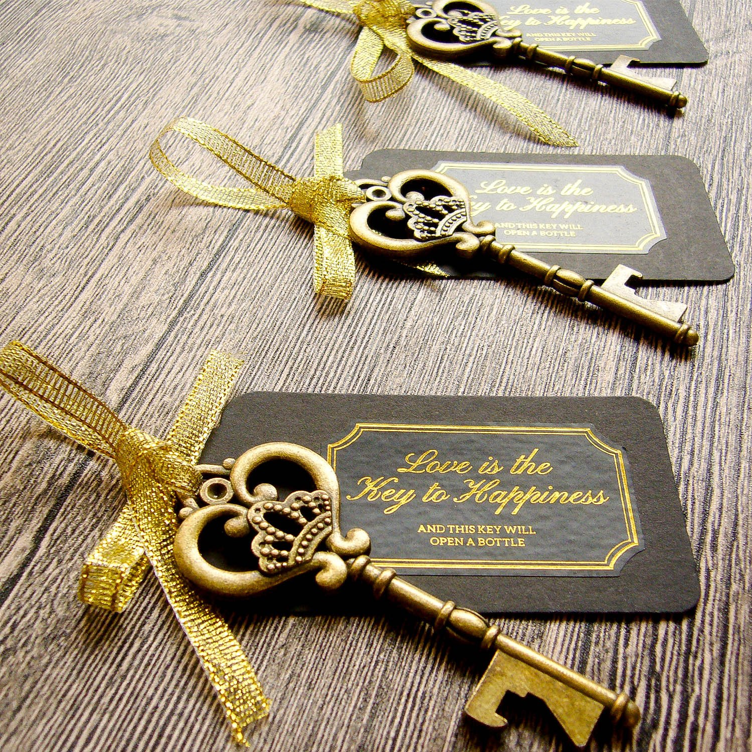 52 Heavy-Duty Metal Large Skeleton Key Bottle Opener Wedding Favor with Tag (Chalkboard Look-alike), FREE Gold Ribbon and Stickers, Vintage Bridal Shower Favors Bottle Opener for Guests (Antique Gold)