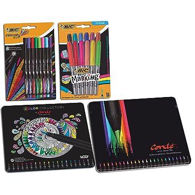 BIC 950616, Paquete de bolígrafos para colorear, lápices, rotuladores y rotuladores de punta fina, 64 unidades: Oficina y papelería