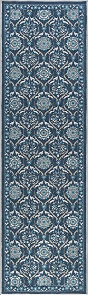 Universal Rugs Floral Transitional Runner Accent Area Rug Navy 335 X 69 Cm 2 X 11 Nylon 335 X 69 X 0 25 Cm Amazon Co Uk Kitchen Home