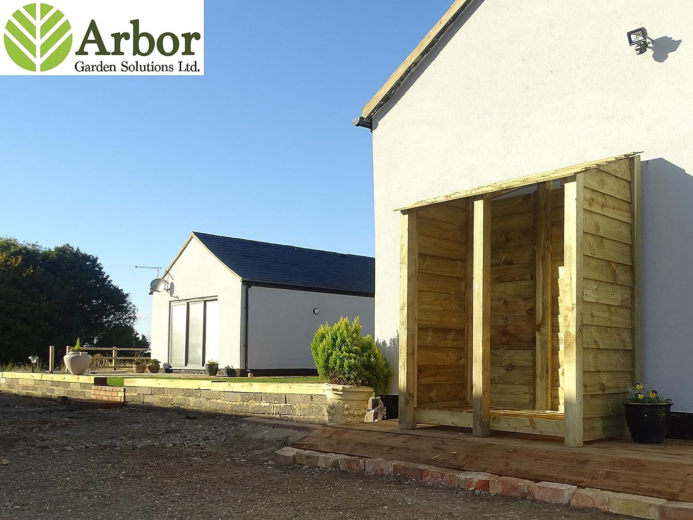 6 ft Heavy Duty Log Store - Caseta para madera y madera de roble tratada a presión - Para Transportar leña: Amazon.es: Jardín