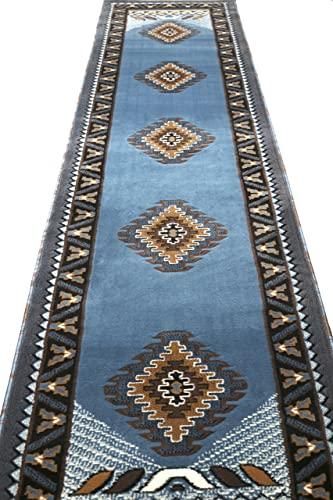 Rugs 4 Less Collection Southwest Native American Indian Long Runner Area Rug Design R4L 143 Light Blue 2'4''x10'11''