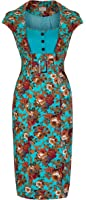 Lindy Bop 'Wynona' Stunning Vintage 1950's Style Floral Print Pencil Dress