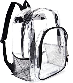Heavy Duty Transparent Backpack for Concert Clear Backpack Stadium Approved Clear Backpack Small for Women Security Travel /& Stadium Black