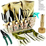 Scuddles Garden Tools Set - 8 Piece Gardening tools With Storage Organizer, Ergonomic Hand Digging Weeder, Rake, Shovel, Trowel, Sprayer, Gloves Gift for Man & Women (WITH WATER NOZZLE AND SHEARS)