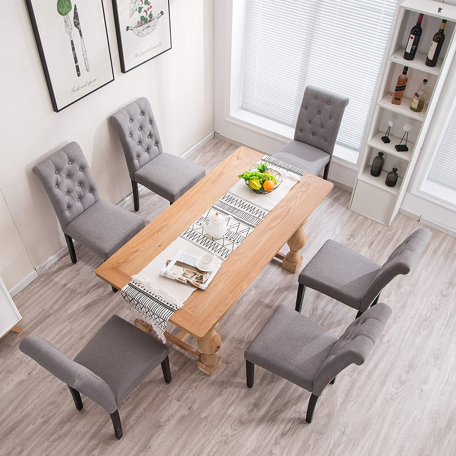 YEEFY Habit Solid Wood Tufted Parsons Dining Chair Set of 4 Gray