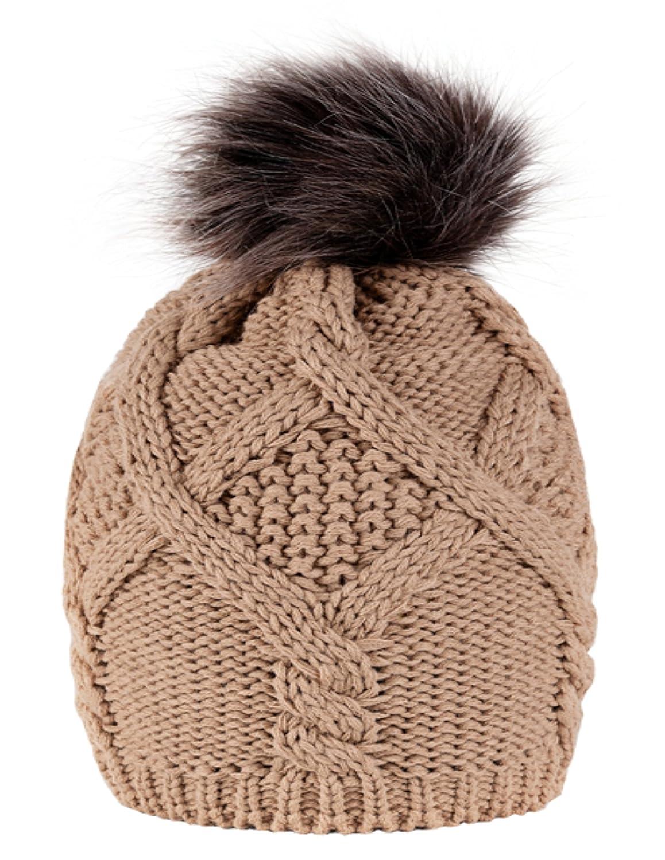 4sold beanie hat women woolly Cookies Eskimo CHUNKY KNIT BOBBLE WITH POM POM SKI SKY SKIS 4sold ltd b-1
