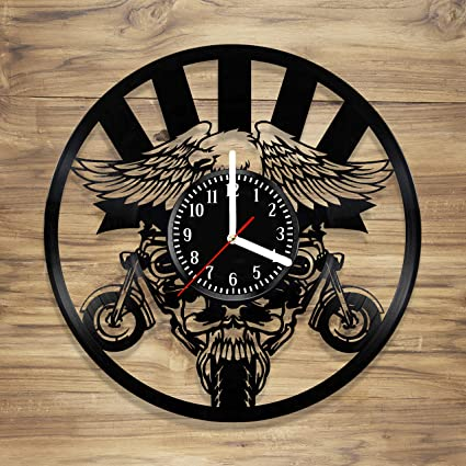 Motorcycle Vinyl Wall Clock Skull design American Moto Eagle Perfect gift Art Decorate Home Style UNIQUE