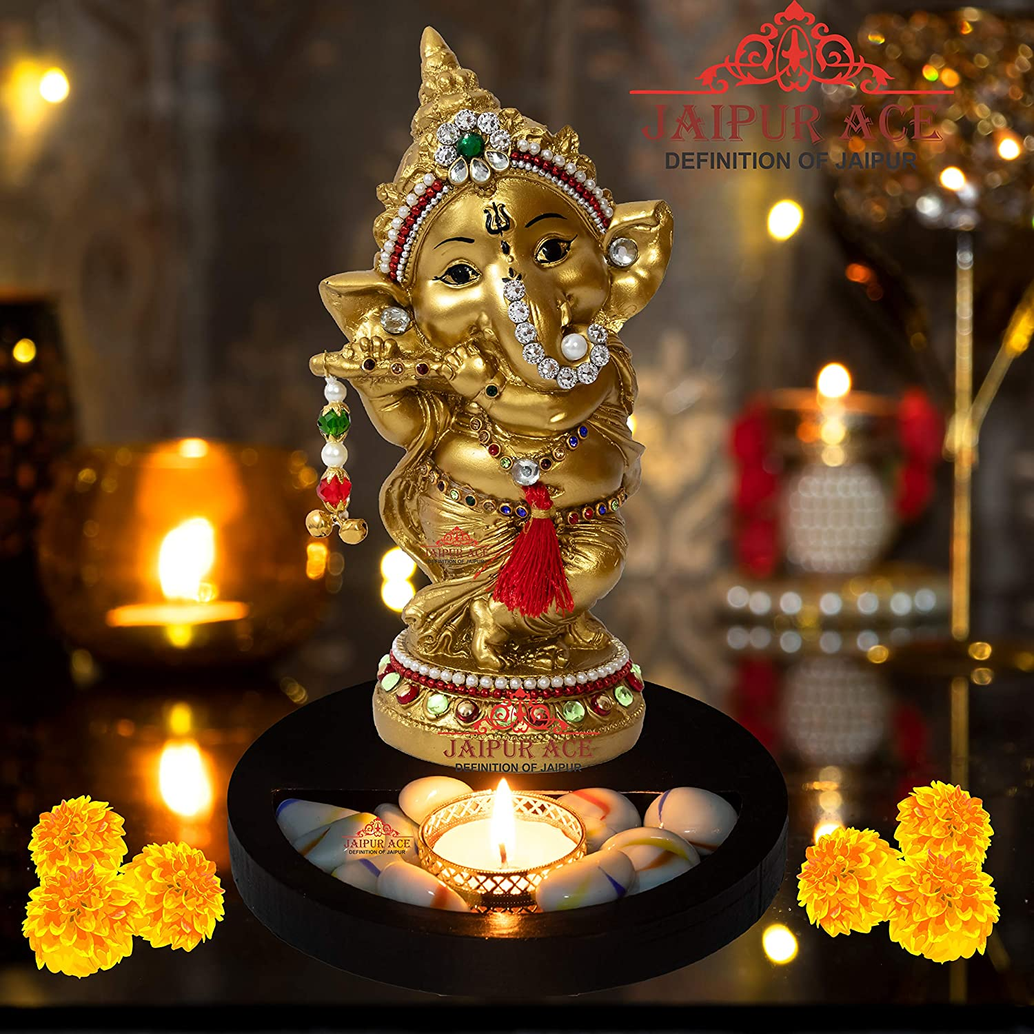 Buy Jaipur Ace Idol For Home Decor Best Diwali Gift Items Under 500 Ganesha On Tealight Tray Online At Low Prices In India Amazon In