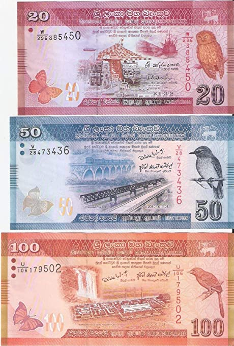 Sri Lanka 20 50 & 100 Rupees 3 Different Notes UNC: Amazon