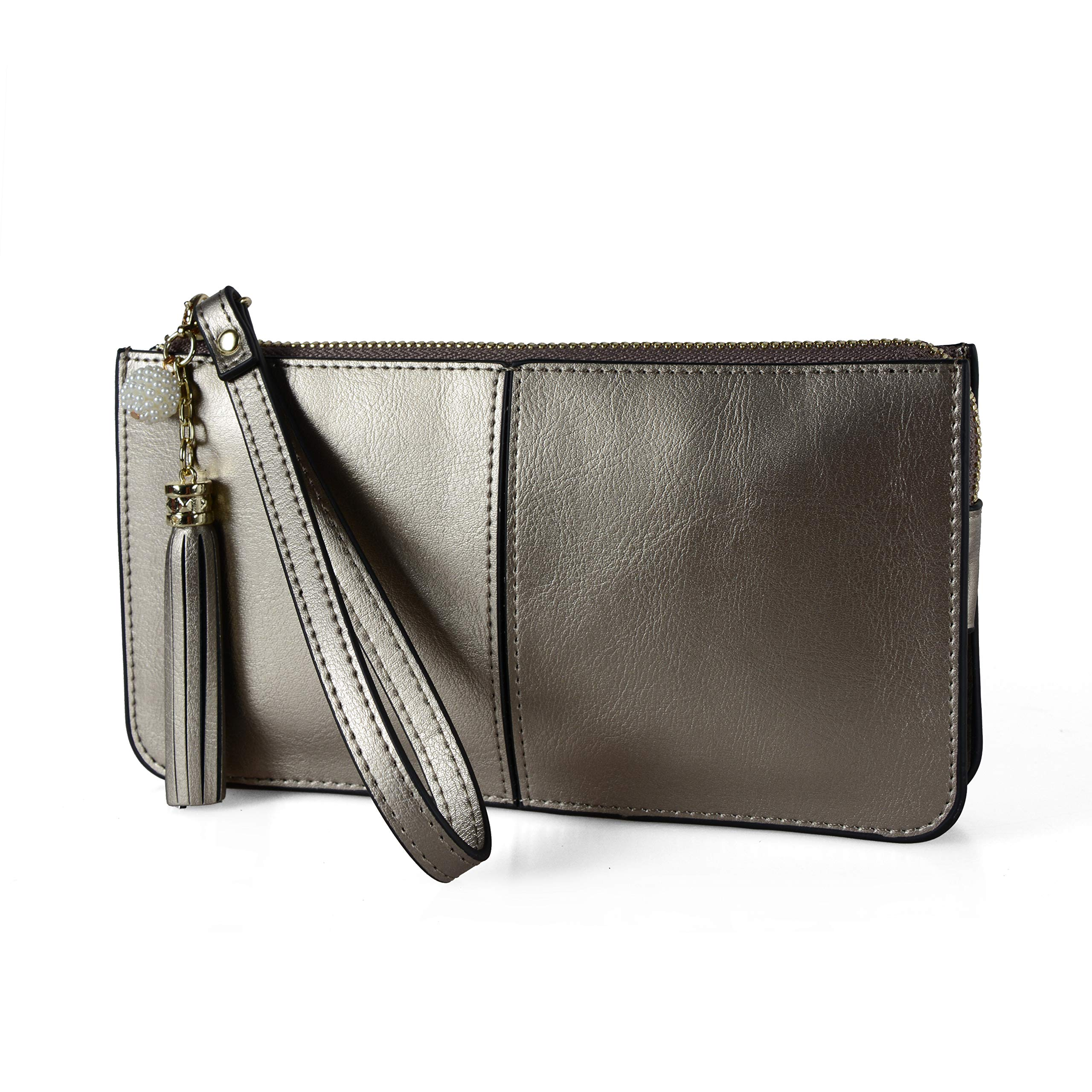 Befen Soft Leather Wristlet Phone Wristlet Wallet Clutch with Wrist Strap/Card slots/Cash pocket - Warm Silver by befen