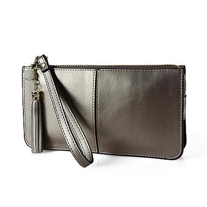 buy online 34373 03cc9 Befen Soft Leather Wristlet Phone Wristlet Wallet Clutch with Wrist  Strap/Card Slots/Cash Pocket- Fit iPhone 6S Plus/Samsung Note 5 - Silver