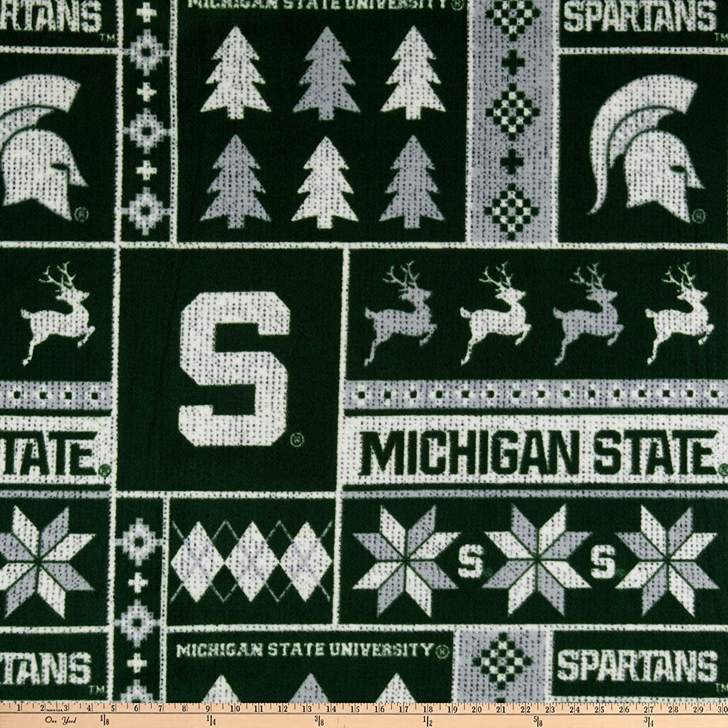 Sykel Enterprises NCAA-Michigan State 1182 Ugly Sweater Fleece Multi Fabric by the Yard