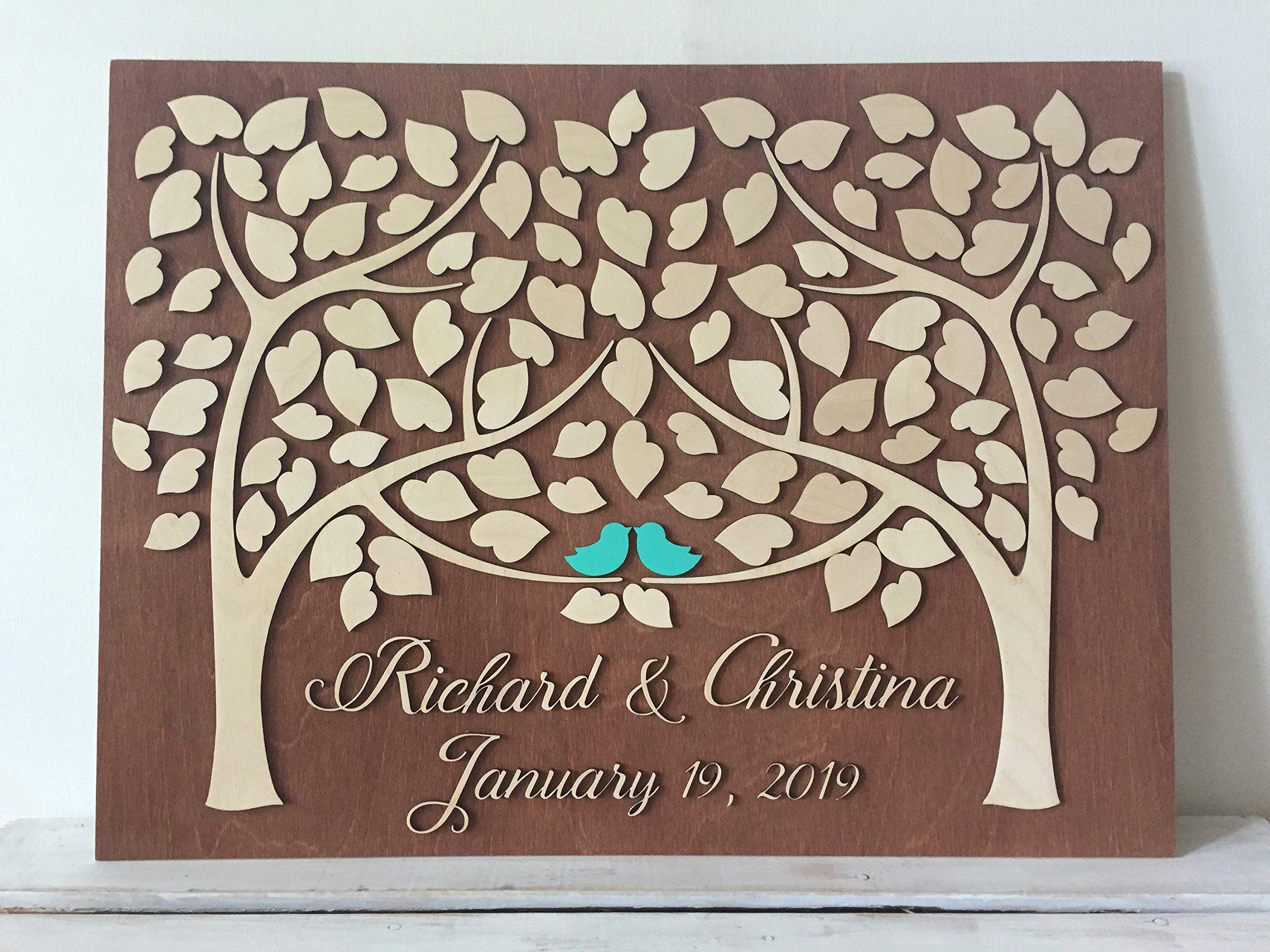 LOVE NILE 3D Wedding Guest Book Alternative Made in Wood Unique Rustic Wedding Tree Sign in 3D Wood Sign Keepsake Gift