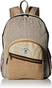 100% Pure Hemp Natural Color Backpack Handmade Nepal with Laptop Sleeve - Fashion Cute Travel School College Shoulder Bag/Bookbags/Daypack